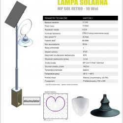 Lampa solarna MP SOL 10 wat RETRO